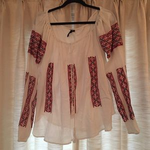 White Long Sleeve Boho Top w/ Red&Black Embroidery